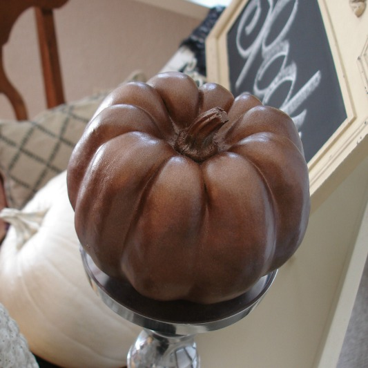 Bronze painted pumpkin decor fall halloween foxhollowcottage