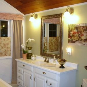 bathroom makeover white green shabby french country 300