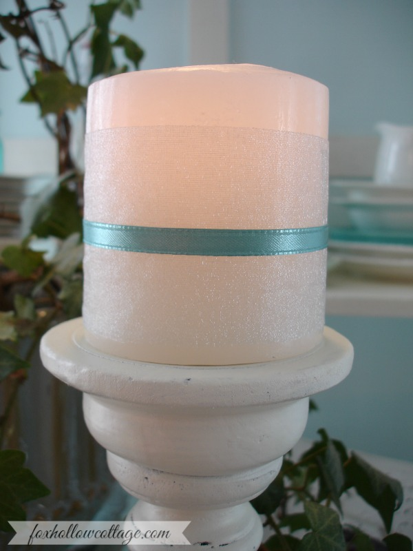 Chiffon Ribbon Wrapped Candle