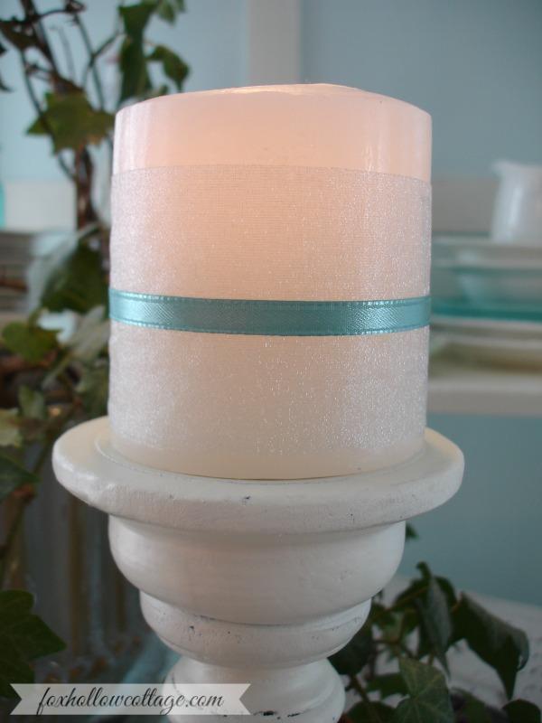 Chiffon Ribbon Wrapped Candle