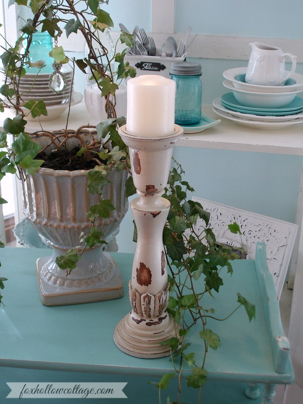 Shabby Cottage Home Decor - After - Candle Stick Makeover