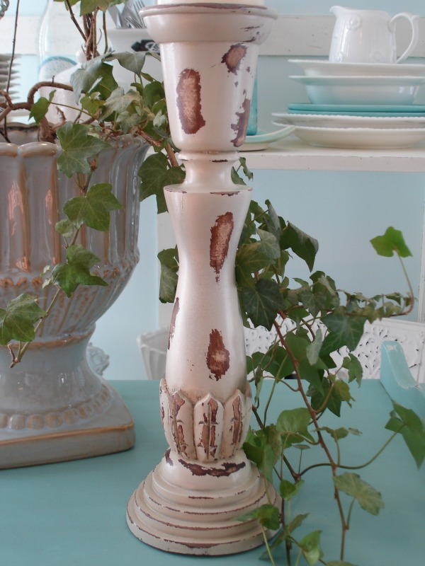 Shabby Distressed After - Candle Stick Makeover