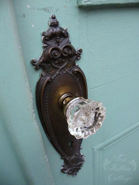 Vintage Door -aqua turquoise hardware crystal doorknob - Jacksonville Oregon