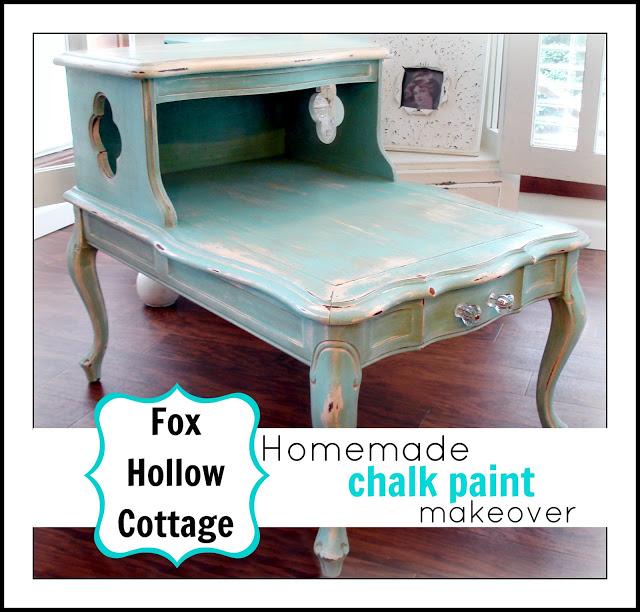 DIY aqua chalk paint furniture makeover