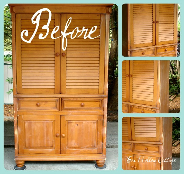 Outdated Honey Oak Entertainment Armoire Before