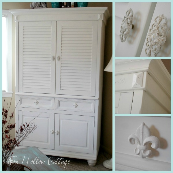 White Cottage Style Shutter Entertainment Armoire
