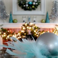 Mantle Xmas 2011 Silver Aqua Lime Feathers Silver Dish 300x fi