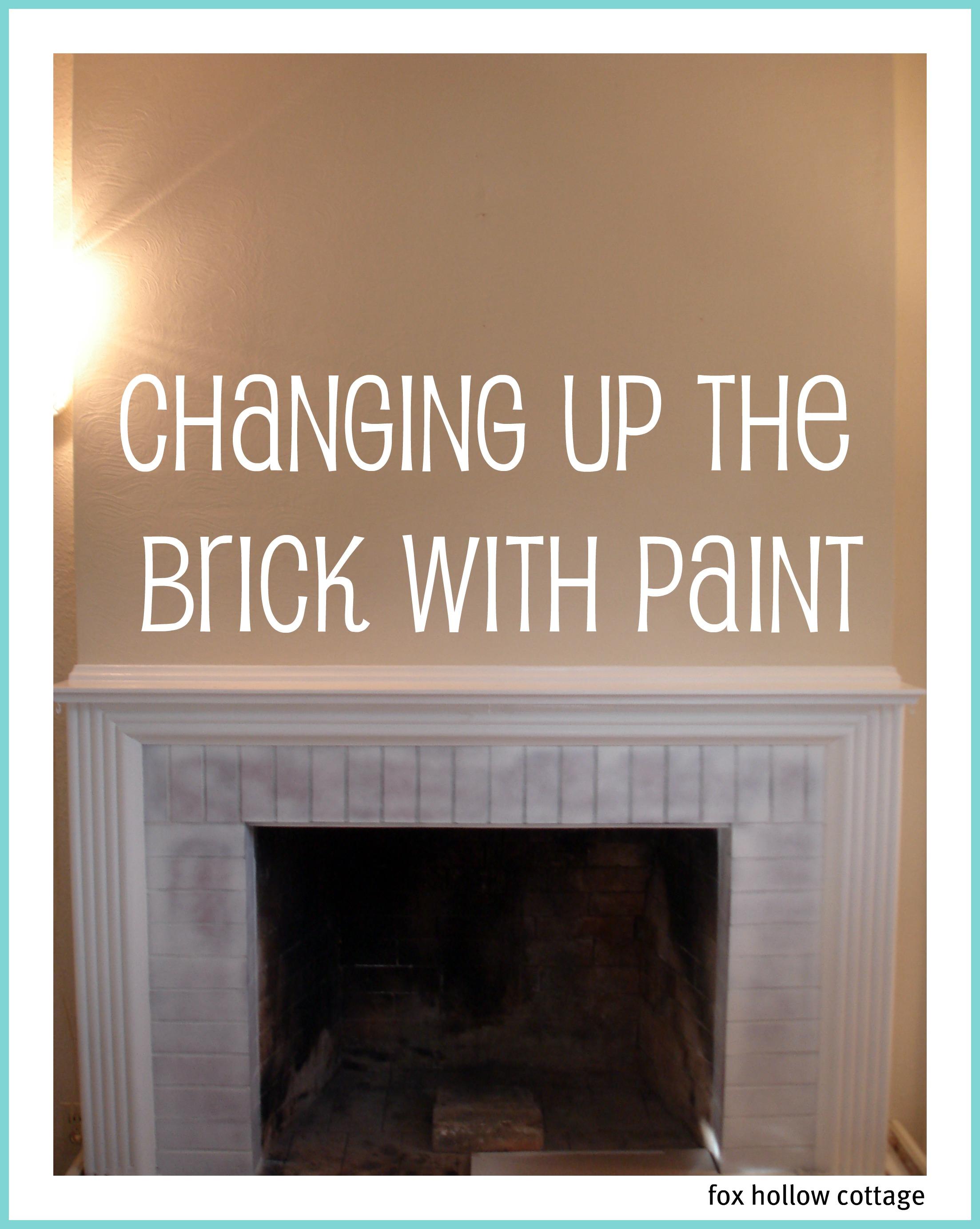 diy fireplace makeover - spray painting glossy bricks