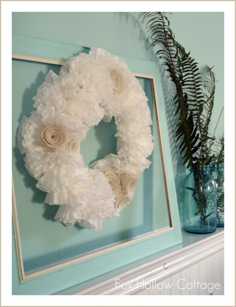 coffee filter wreath burlap flowers aqua white ball jars ferns fronds
