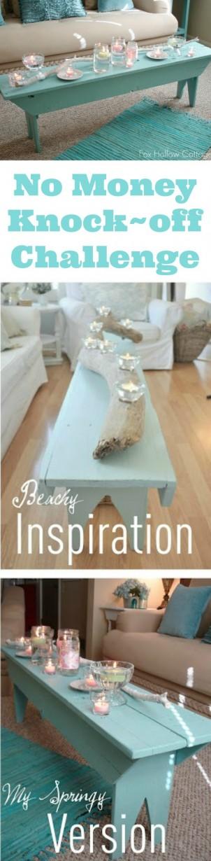 DIY Aqua Shabby Beachy Farmhouse Bench