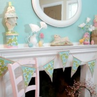Easter Spring Mantel Decor