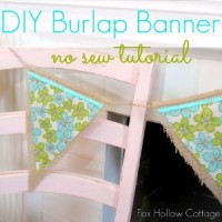 No Sew Vintage Floral Pennant - Burlap Bunting Banner Tutorial