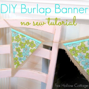 No Sew Vintage Floral Pennant - Burlap Bunting Banner Tutorial