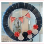 Summer Wreath in Patriotic Red, White and Blue Denim