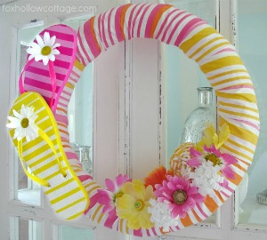 Flip Flop Summer Pool Noodle Wreath Tutorial