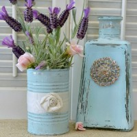 aqua-bottle-and-tin-can-painted-re-purposed-into-decor-tour