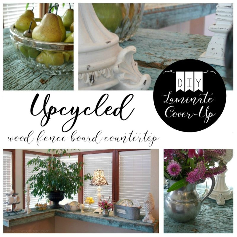 DIY Laminate Cover Up. Upcycled Wood Fence Board Countertop.