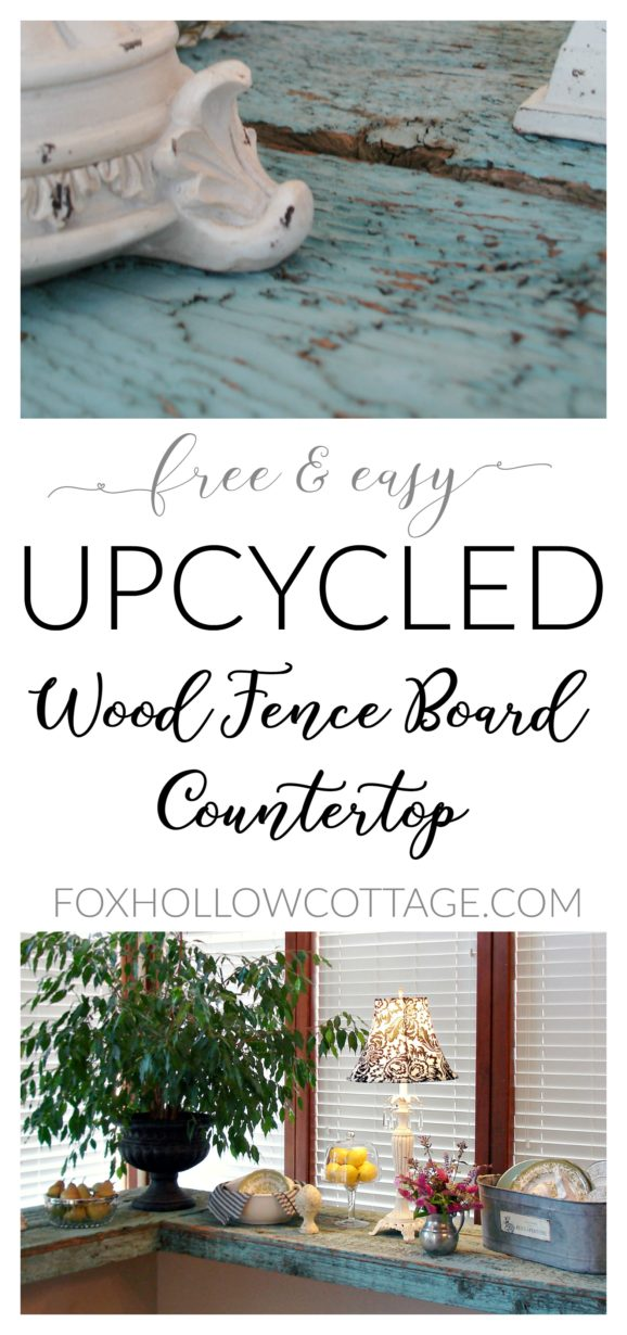 Free and Easy - Upcycled Wood Fence Board Countertop - DIY Laminate Counter Cover Up - foxhollowcottage.com - Fox Hollow Cottage