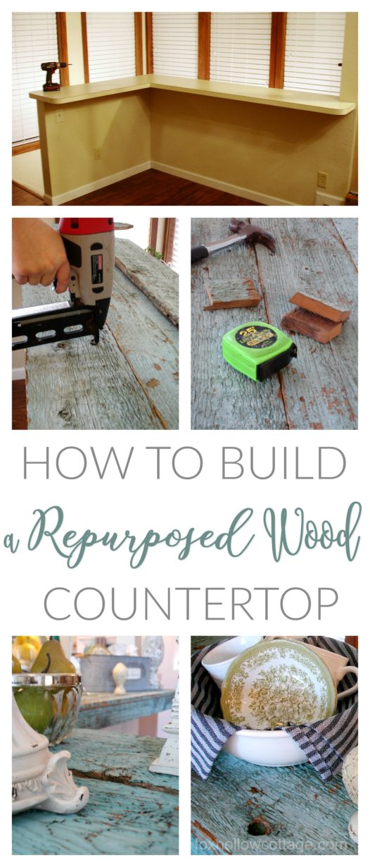 How To Build A Repurposed Wood Countertop - DIY tutorial - foxhollowcottage.com