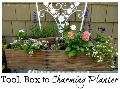 Summer Flower Vintage Upcycle Repurpose Tool Box to Planter Pot