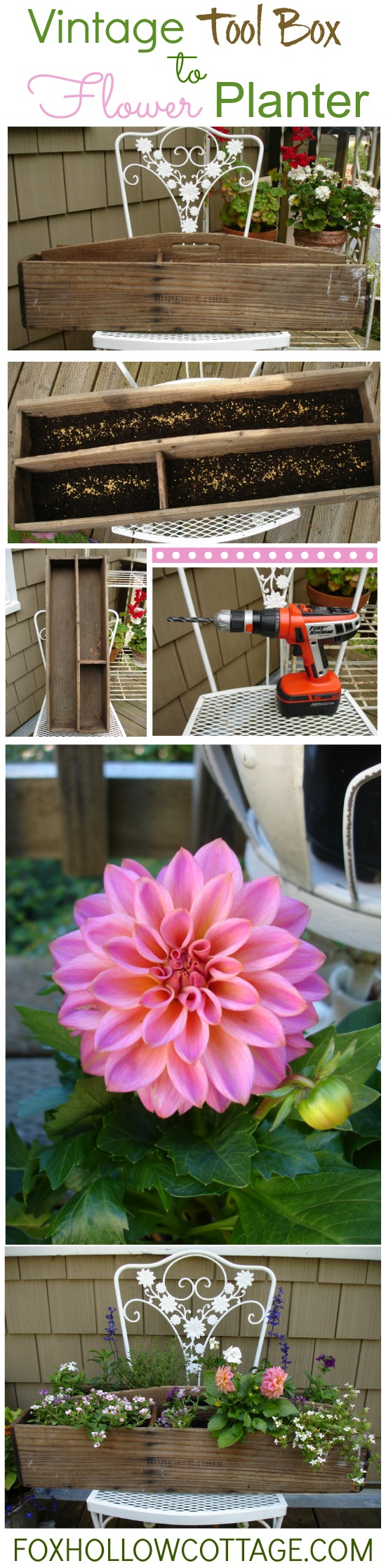vintage tool box to flower planter diy how to