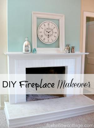 DIY fireplace makeover foxhollowcottage.com fi