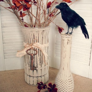 crow painted vases fall halloween 300x