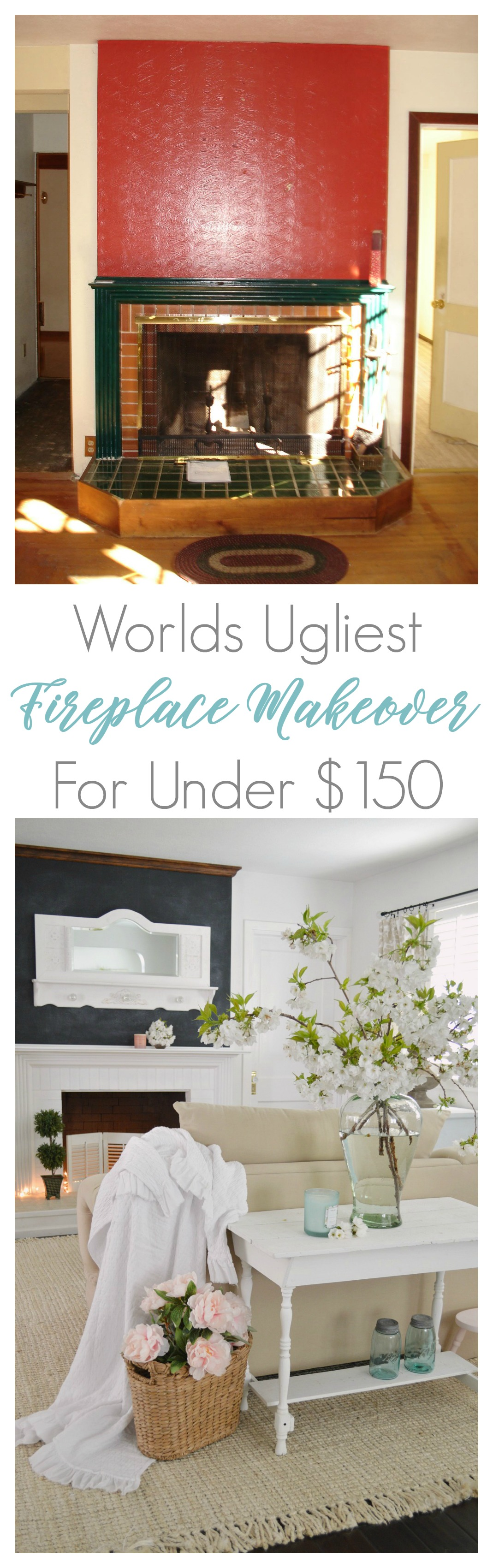 Budget friendly fixer upper fireplace makeover. This DIY mantel hearth project has lots of pictures and a full before & after, and it was under $150 for complete project! By www.foxhollowcottage.com Fox Hollow Cottage blog