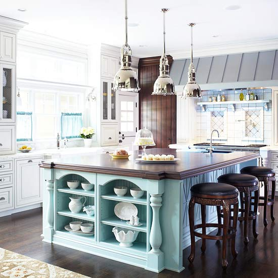 Big Beautiful Mixed Finsih Kitchen White Wood Aqua Island
