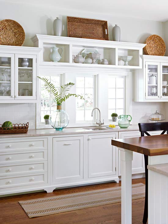 White Kitchen Cottage Farmhouse Wood Counters and Floors