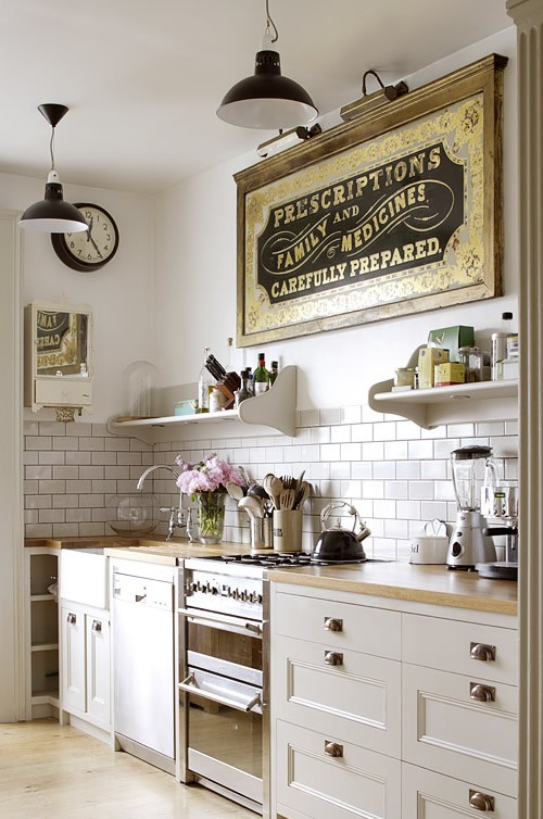 Vintage Pharmacy Art Kitchen Detail