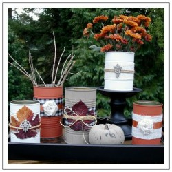 Fall Tin Can Craft Display Table Center Piece Vignette 1 foxhollowcottage