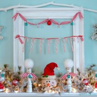 Snowman Wintery Christmas Mantel foxhollowcottage.com 3 fi 300x