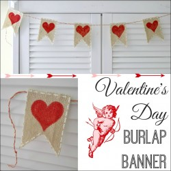 Make a DIY Valeninte's Day Burlap Banner Bunting Craft Tutorial fi