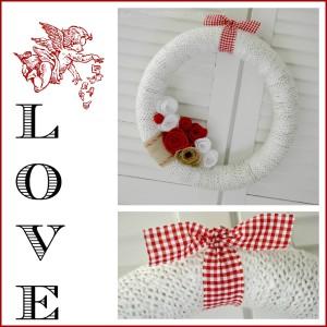 Valetentines Day Craft DIY Yarn Felt Flower Wreath
