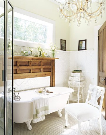 Navy Bathroom Budget Breakdown and Shopping Sources - Vintage Mantel Clawfoot Bathtub