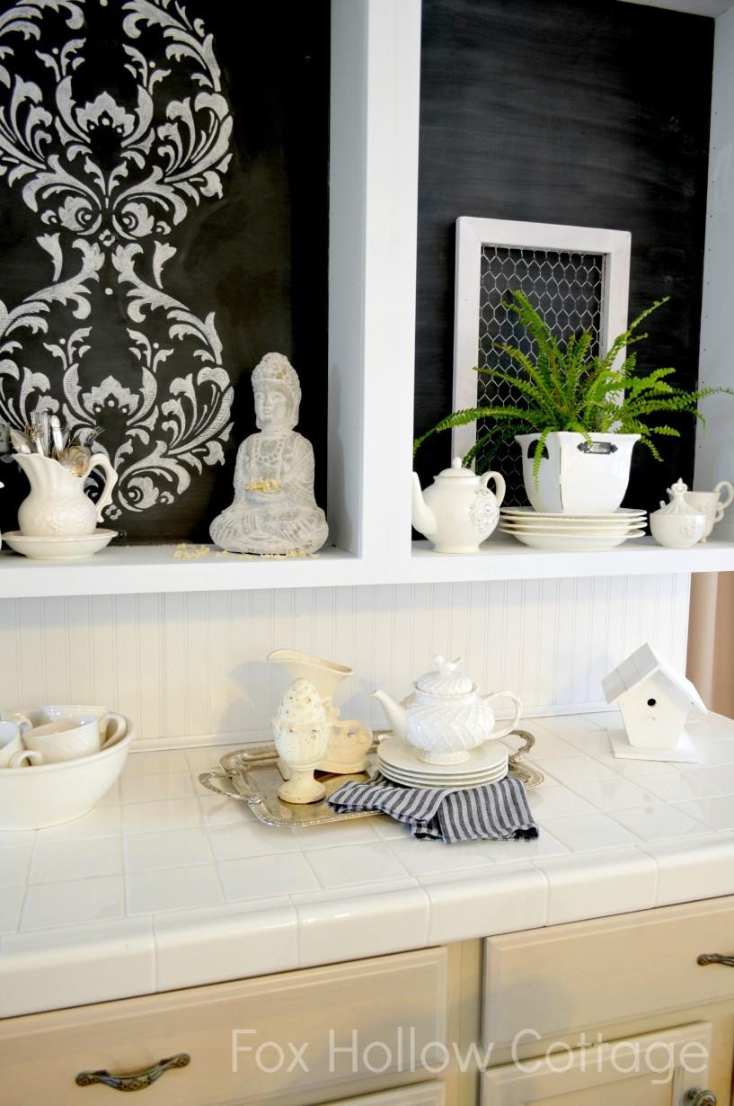 Black Wrought Iron La Craie Paint Chalk Stencil Kitchen Cabinet Makeover