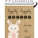 Burlap Bunny Easter Art {free printable}
