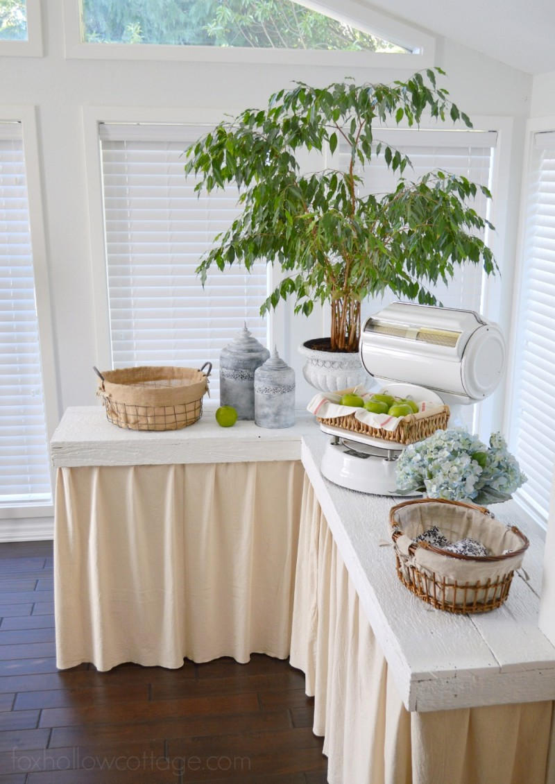 diy wood counter top vintage scale hidden storage kitchen sun room - foxhollowcottage