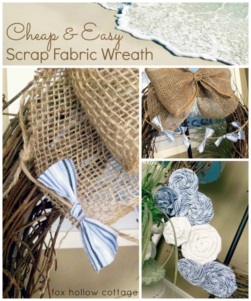 Beach Chic Coastal Blue Shabby Country Wreath & Burlap Bow