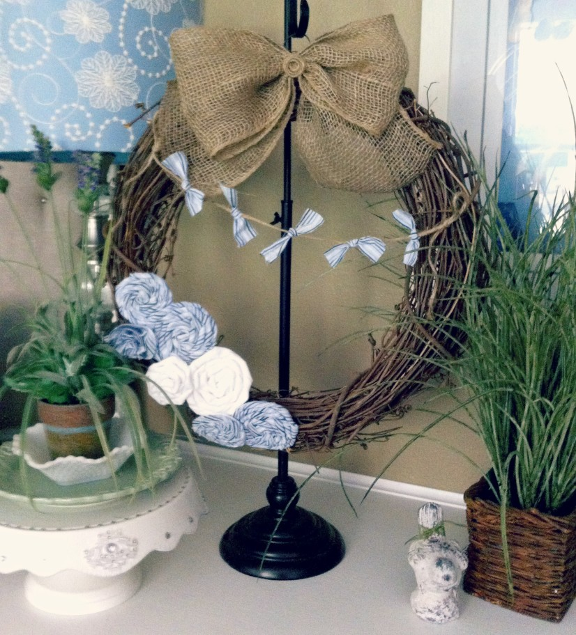 Blue PinStripe Beachy Wreath