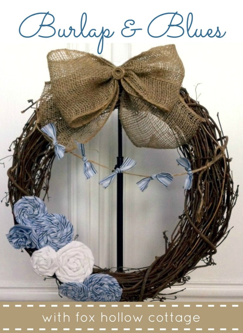 Cheap & Easy Burlap And Scrap Beachy Blues Wreath