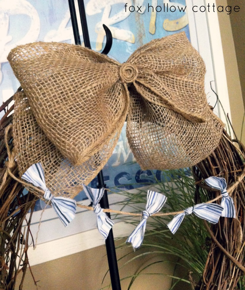 Burlap Bow Wreath Banner Bunting