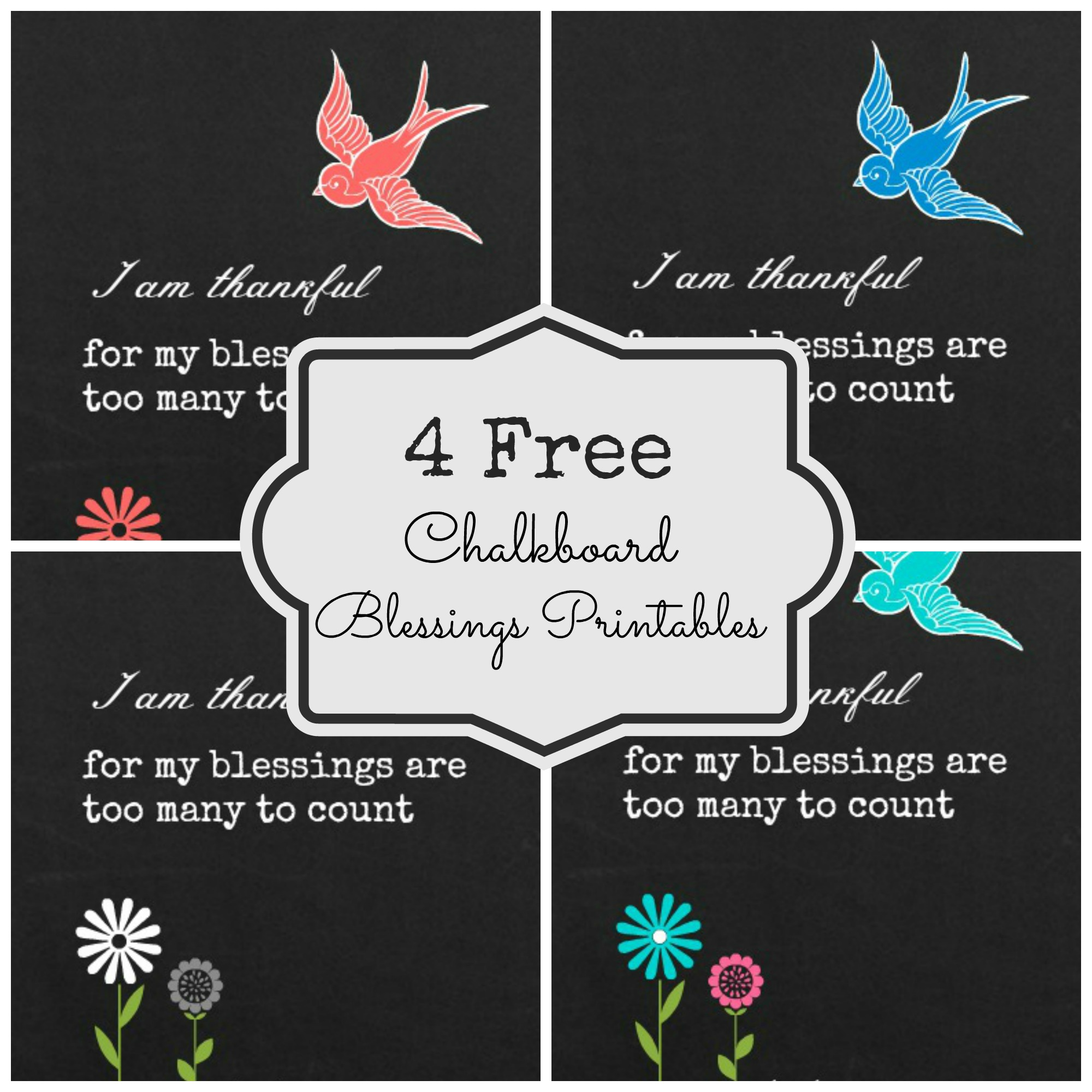 photograph regarding Free Chalkboard Printable referred to as 4 Cost-free Chalkboard Printables grateful blessings - Fox