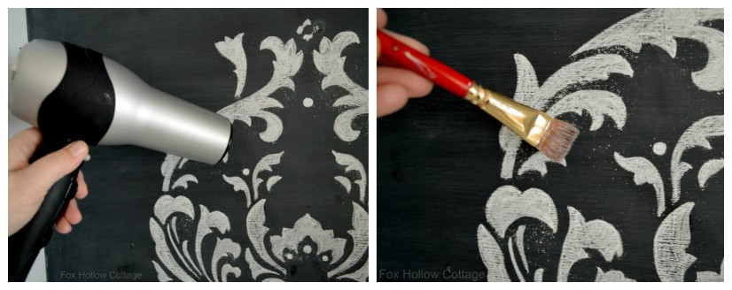 Cutting Edge Stencil Anna Damask Kitchen Project with Chalk Chalkboard Paint 6