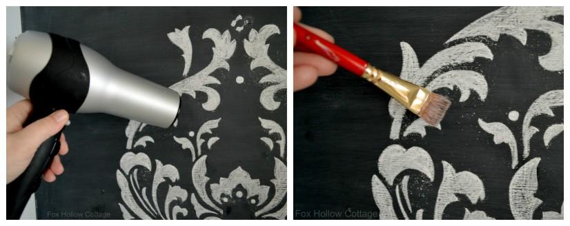 Cutting Edge Stencil Anna Damask Kitchen Project with Chalk Chalkboard Paint 6