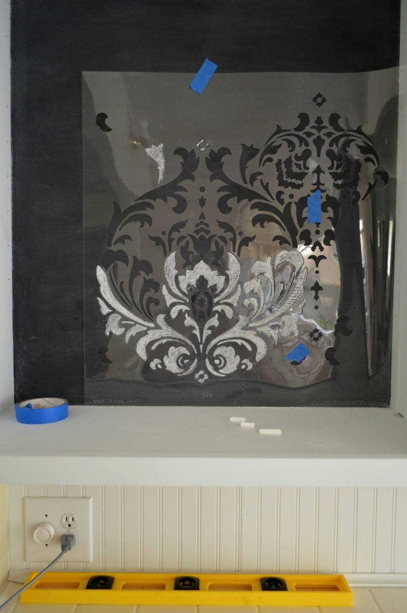 Cutting Edge Stencil Anna Damask Project with Chalk Chalkboard paint 2