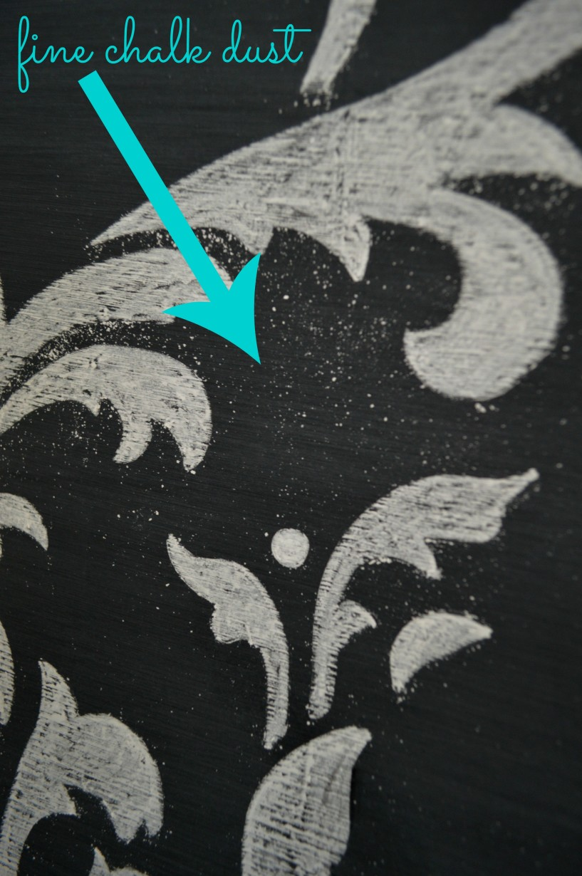 Cutting Edge Stencil Anna Damask Project with Chalk Chalkboard paint 3