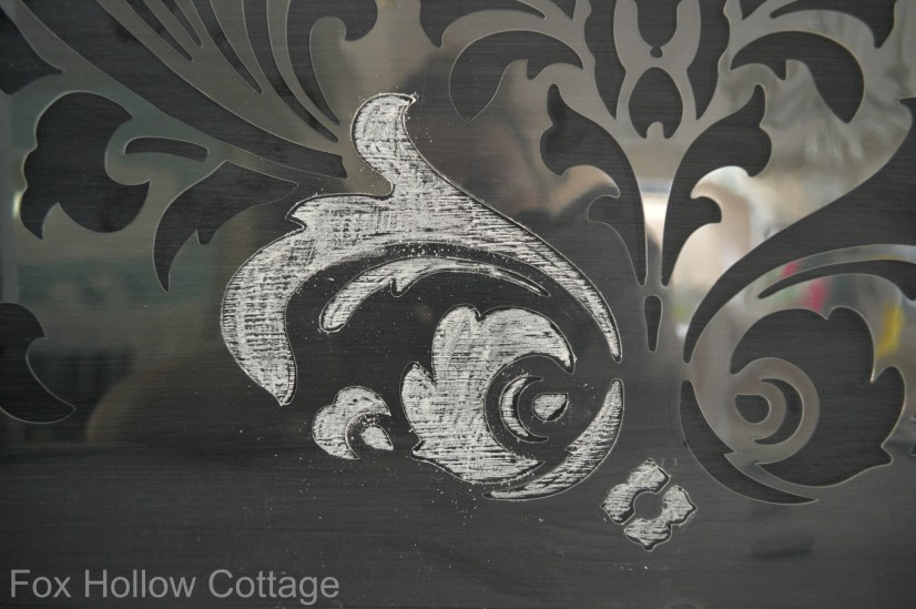 Cutting Edge Stencil Anna Damask Project with Chalk Chalkboard paint