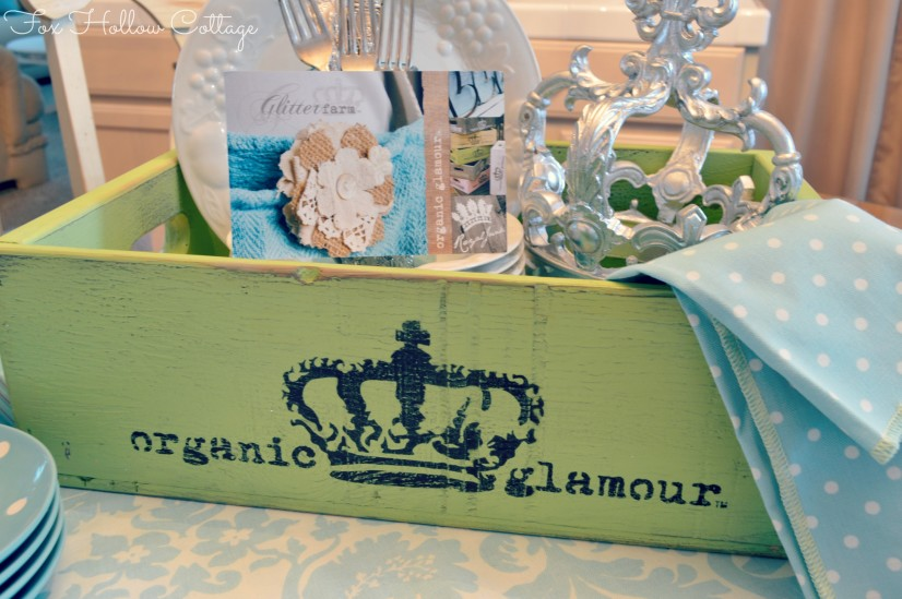 Glitterfarm Organic Glamour Crate Box Storage Apple Green Aqua Decor